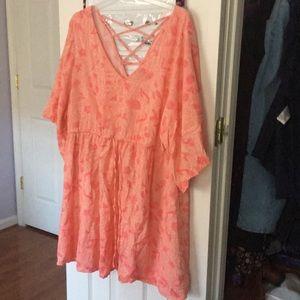 Torrid Peach/Pink Print Kimono Sleeve Dress